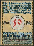 Детмольд (Detmold), 50 пфеннингов 1920 года. Вар. 3