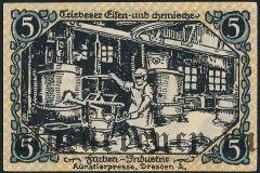 Трибес (Triebes), 5 пфеннингов 1920 года