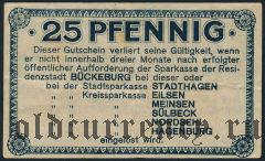 Бюккебург (Bückeburg), 25 пфеннингов 1920 года
