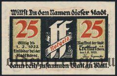 Треффурт (Treffurt), 25 пфеннингов 1921 года. Вар. 2