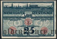 Бремерхафен, Гестемюнде и Леэ (Bremerhaven, Geestemünde und Lehe), 25 пфеннингов 1920 года
