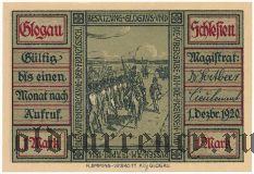 Глогув (Glogau), 1 марка 1920 года