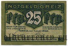 Грайц (Greiz), 25 пфеннингов 1921 года
