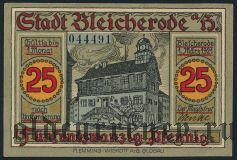 Блайхероде (Bleicherode), 25 пфеннингов 1921 года