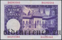 Испания, 25 песет 1954 года