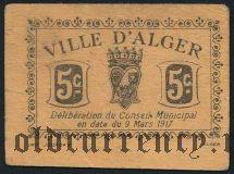 Алжир, 5 сантимов 1917 года