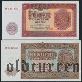 ГДР, 5, 10, 20, 50 и 100 марок 1955 года