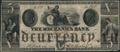 США, The Mechanics Bank, 5 долларов 1854 года