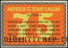 Калькар (Calcar), 75 пфеннингов 1922 года. Вар. 2
