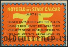 Калькар (Calcar), 75 пфеннингов 1922 года. Вар. 4