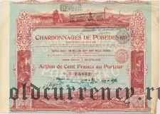 Побединские угольные шахты, акция на 100 франков