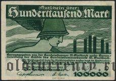 Мёнхенгладбах (München Gladbach), 100.000 марок 1923 года. Вар. 1