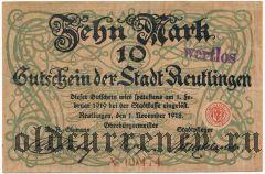 Ройтлинген (Reutlingen), 10 марок 1918 года