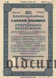 Schuldverschreibung des Landes Sachsen, Dresden, 5000 reichsmark 1937