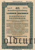 Schuldverschreibung des Landes Sachsen, Dresden, 100 reichsmark 1937