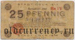 Кёльн (Köln), 25 пфеннингов 1918 года