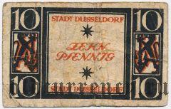 Дюссельдорф (Düsseldorf), 10 пфеннингов 1920 года. Серия: II