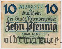 Нюрнберг (Nürnberg), 10 пфеннингов 1920 года. Вар. 2