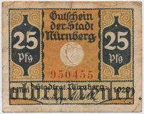 Нюрнберг (Nürnberg), 25 пфеннингов 1920 года. Вар. 1
