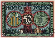 Цёрбиг (Zörbig), 50 пфеннингов 1921 года. Серия II