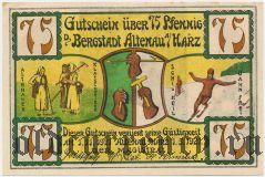 Альтенау (Altenau), 75 пфеннингов 1921 года. Вар. 2