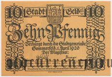 Зоммерфельд (Sommerfeld), 10 пфеннингов 1920 года