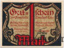 Тондорф-Лоэ (Tonndorf-Lohe), 1 марка 1921 года. Вар. 2
