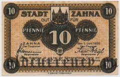 Цана (Zahna), 10 пфеннингов 1920 года