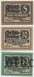 Кемберг (Kemberg), 3 нотгельда 1918 года