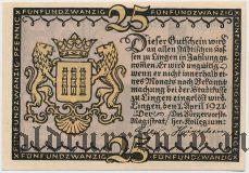 Линген (Lingen), 25 пфеннингов 1921 года