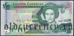 Восточные Карибы, Монтсеррат, 5 долларов (1993) года
