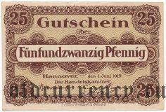 Ганновер (Hannover), 25 пфеннингов 1919 года. Вар. 2
