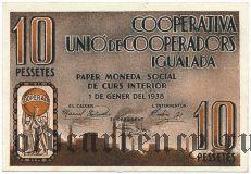Испания, Игуалада (Igualada), 10 песет 1938 года