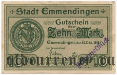 Эммендинген (Emmendingen), 10 марок 1918 года. Вар. 2