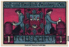 Грюнберг (Grünberg), 1 марка 1921 года. Вар. 1