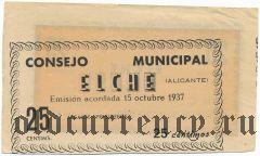 Испания, Эльче (Elche), 25 сантимов 1937 года. Брак печати