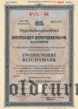 Rheinischen Hypothekenbank, Mannheim, 200 reichsmark 1940