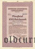 Hessische Landesbank, Darmstadt, 1000 reichsmark 1941