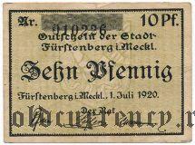 Фюрстенберг (Fürstenberg), 10 пфеннингов 1920 года