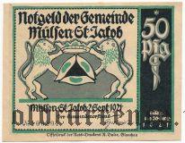 Мюльзен Санкт Якоб (Mülsen-St. Jacob), 50 пфеннингов 1921 года. Вар. 2