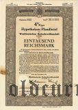 Westdeutschen Bodenkreditanstalt in Köln, 1000 reichsmark 1940