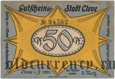 Клеве (Cleve), 50 пфеннингов 1921 года. Вар. 2