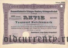 Baumwollindustrie Erlangen-Bamberg, 1000 reichsmark 1927
