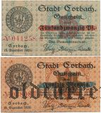 Корбах (Corbach), 2 нотгельда 1920 года