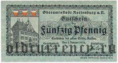 Роттенбург (Rottenburg), 50 пфеннингов 1918 года. Вар. 2