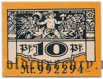Плауэн (Plauen), 10 пфеннингов 1921 года. Вар. 1