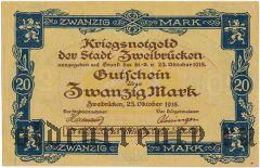 Цвайбрюккен (Zweibrücken), 20 марок 1918 года