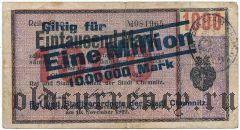 Хемниц (Chemnitz), 1.000.000 марок, надпечатка на 1000 марок 1922 года