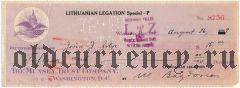 Литовская дипломатическая миссия в США, чек на 15 долларов 1929 года
