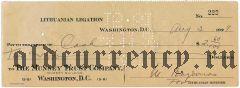 Литовская дипломатическая миссия в США, чек на 2,60 долларов 1927 года